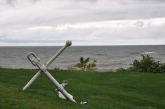 在草的白色船锚 免版税图库摄影