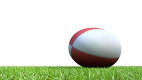 在草的红色橄榄球球 库存照片