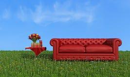 在草的红色皮革豪华沙发 免版税库存图片