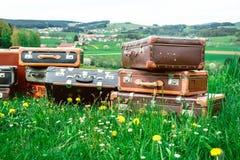 在草的老手提箱 免版税图库摄影