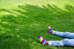 在草的腿与色的袜子 免版税库存图片