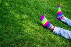 在草的腿与色的袜子 免版税图库摄影