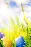 在草的艺术五颜六色的复活节彩蛋在蓝天bac 免版税库存图片