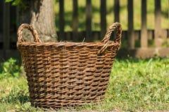 在草的野餐篮子 免版税库存照片