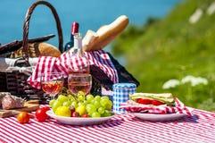 在草的野餐 免版税库存图片