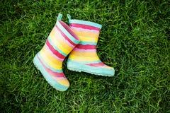 在草的镶边雨靴 免版税库存照片