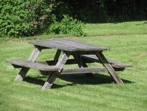 在草的长凳椅子 免版税图库摄影