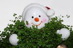 在草的雪人 免版税库存照片