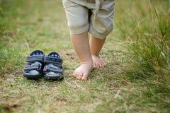 在草的Baby's脚趾 免版税库存图片