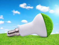 在草的Eco LED电灯泡 免版税库存照片