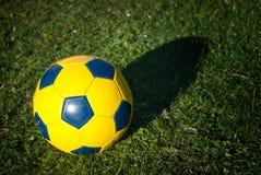 在草的Soccerball 免版税库存照片