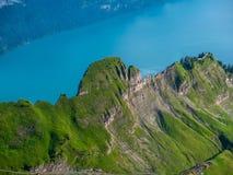 在草盖的陡峭的山后的湖brienz, brienzer rothorn瑞士 免版税库存照片