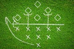 在草背景的橄榄球赛计划 库存照片