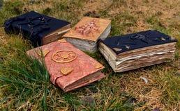 在草背景的老不可思议的书 免版税库存图片