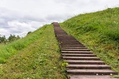 在草覆盖的地球储蓄上面的长的木台阶  免版税库存图片