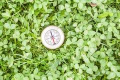 在草顶视图的指南针 库存图片