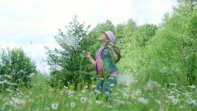 在草,在雏菊中,在草甸,跳舞,跳跃,获得乐趣,一个俏丽的女孩,大约七岁 她 股票录像