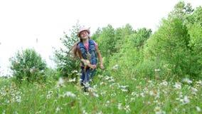 在草,在雏菊中,在草甸,跳舞,跳跃,获得乐趣,一个俏丽的女孩,大约七岁 股票视频