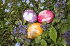 在草6的复活节彩蛋 免版税图库摄影