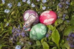 在草6的复活节彩蛋 库存照片