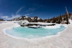 在荒芜原野,加利福尼亚山的熔化的雪  免版税库存照片
