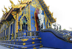 在荣苏十寺庙的站立的菩萨身材在清莱,泰国 库存照片