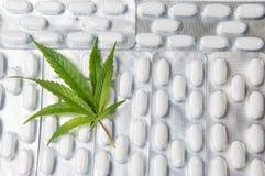 在药片顶部的大麻叶子 图库摄影
