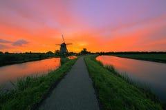 在荷兰风景的日出 免版税图库摄影