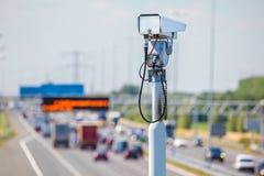 在荷兰高速公路前面的监视器 免版税库存图片