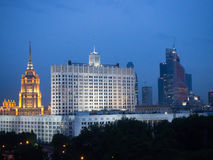 在莫斯科中心的夜视图 免版税图库摄影