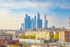 在莫斯科城市和第三个运输圆环的看法 图库摄影