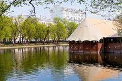 在莫斯科清洗池塘 库存图片