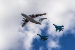 在莫斯科的空气游行 库存图片