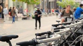 在莫斯科街道上的自行车停车处  影视素材