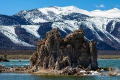 在莫诺湖加利福尼亚的大凝灰岩形成 库存图片