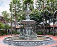 在莱佛士酒店的庭院喷泉,新加坡 库存图片