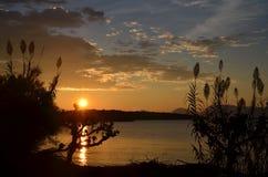 在莱夫卡斯州海岛上的日出场面 库存图片