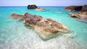 在莱夫卡斯州海岛上的波尔图Katsiki海滩在希腊 影视素材