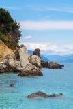 在莱夫卡斯州海岛上的Agiofili海滩在希腊 库存照片