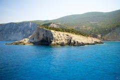 在莱夫卡斯州海岛,希腊的波尔图Katsiki海滩 免版税库存照片
