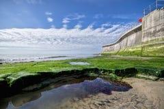 在莱姆里杰斯的海洋防御墙壁 库存照片