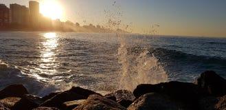 在莱布隆海滩的黎明 库存照片
