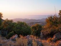在莱斯博斯岛,希腊的日落 免版税库存照片