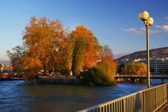 在莱芒湖的日落光在秋天,瑞士,欧洲 免版税库存照片