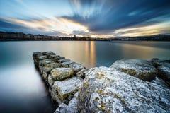 在莱芒湖的日落在日内瓦,瑞士 免版税库存照片