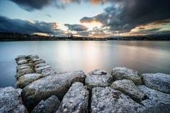 在莱芒湖的日落在日内瓦,瑞士 图库摄影
