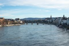 在莱茵河的冬日在巴塞尔,瑞士 免版税库存图片