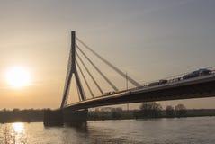 在莱茵河的桥梁在wesel,德国西部 免版税库存照片