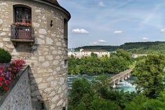 在莱茵河的铁路桥,瑞士 免版税库存图片