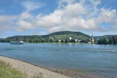 在莱茵河,莱茵河流域巴列丁奈特,德国的坏Hoenningen 免版税库存图片